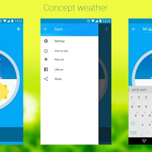 Interactive mockup for a weather app