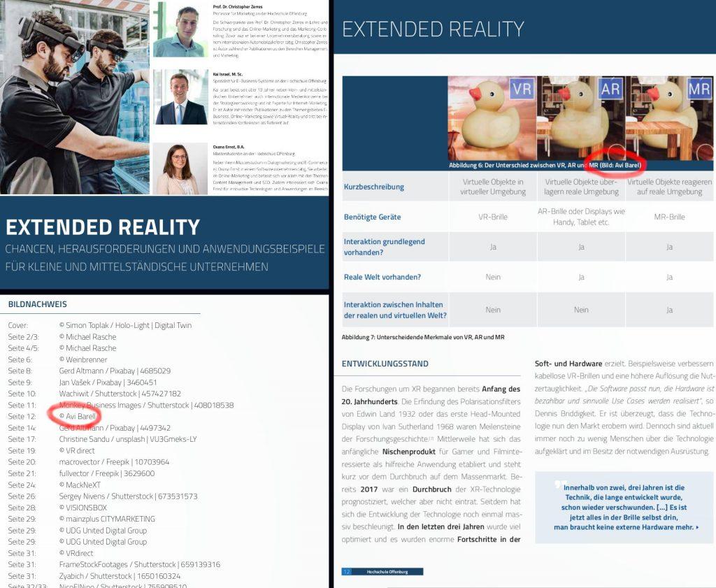 Avi Barel's slides in Offenburg University papers. VR/AR/XR