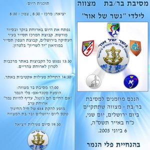 Brochures for Israeli Army's NGO:  NGOs: Gesher Shel Or (Bridge of light) for Blind People and for the community.