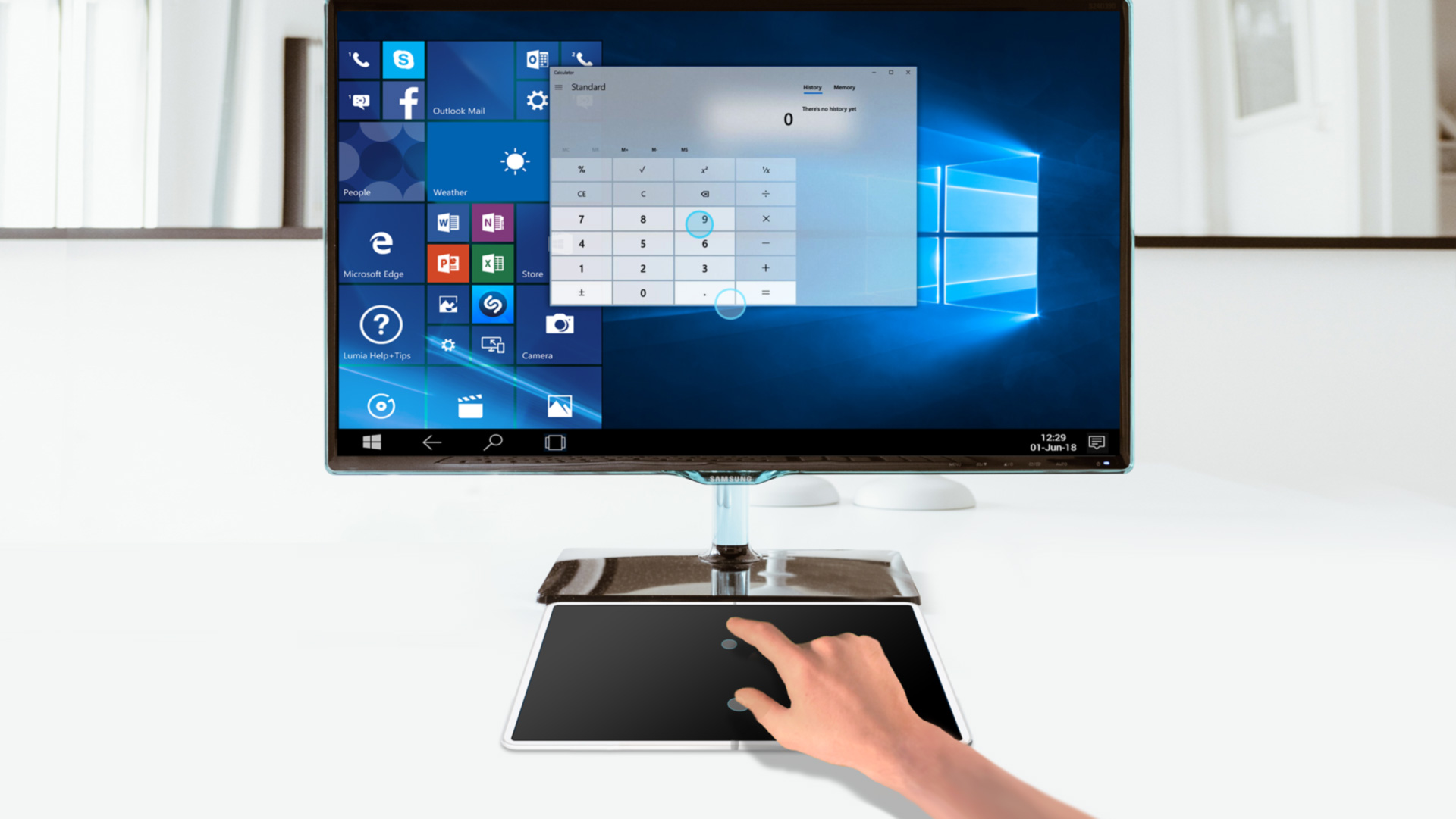 When casting onto an external display, you can dim use your device's screen and use it  as an advanced Multi-Hover Touchpad.